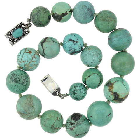 Estate Sterling Large Turquoise Bead Necklace 16""