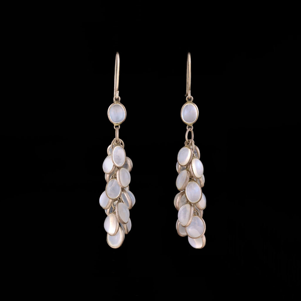 "Estate Sterling + Moonstone ""Fish Scale"" Earrings"