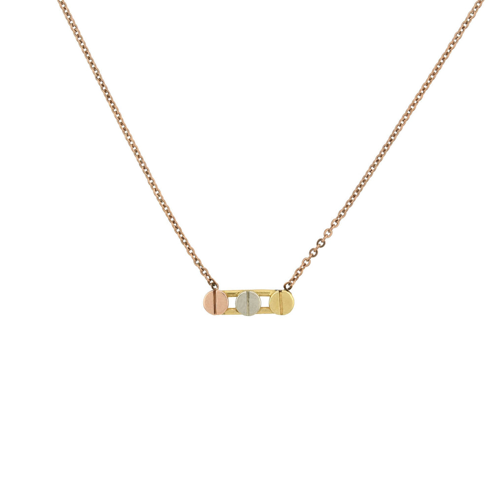 Estate 14kt Tricolor Gold Screw Head Motif Pendant Necklace 16.25""