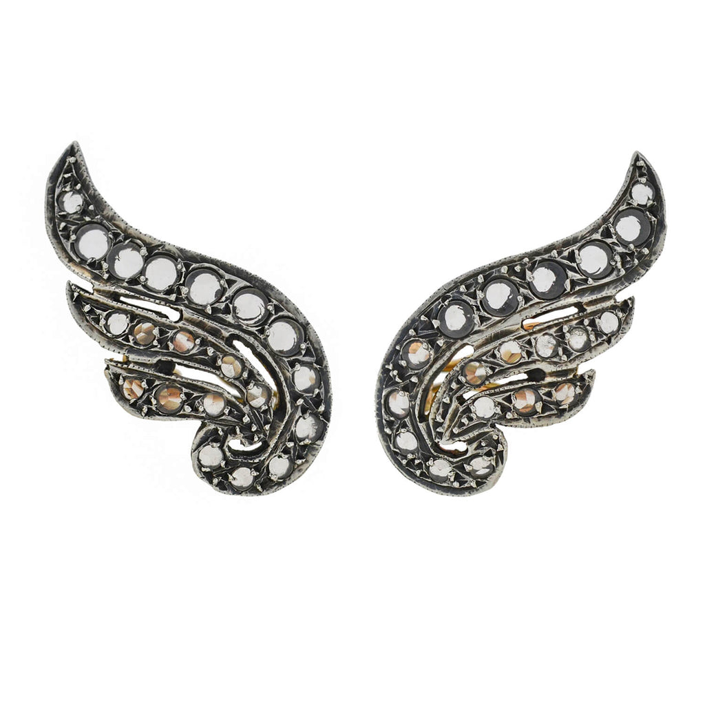 Georgian Style 14kt/Sterling Natural White Spinel Wing Earrings