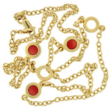 Estate 14kt Red Enamel Open Circle Link Chain Necklace 18