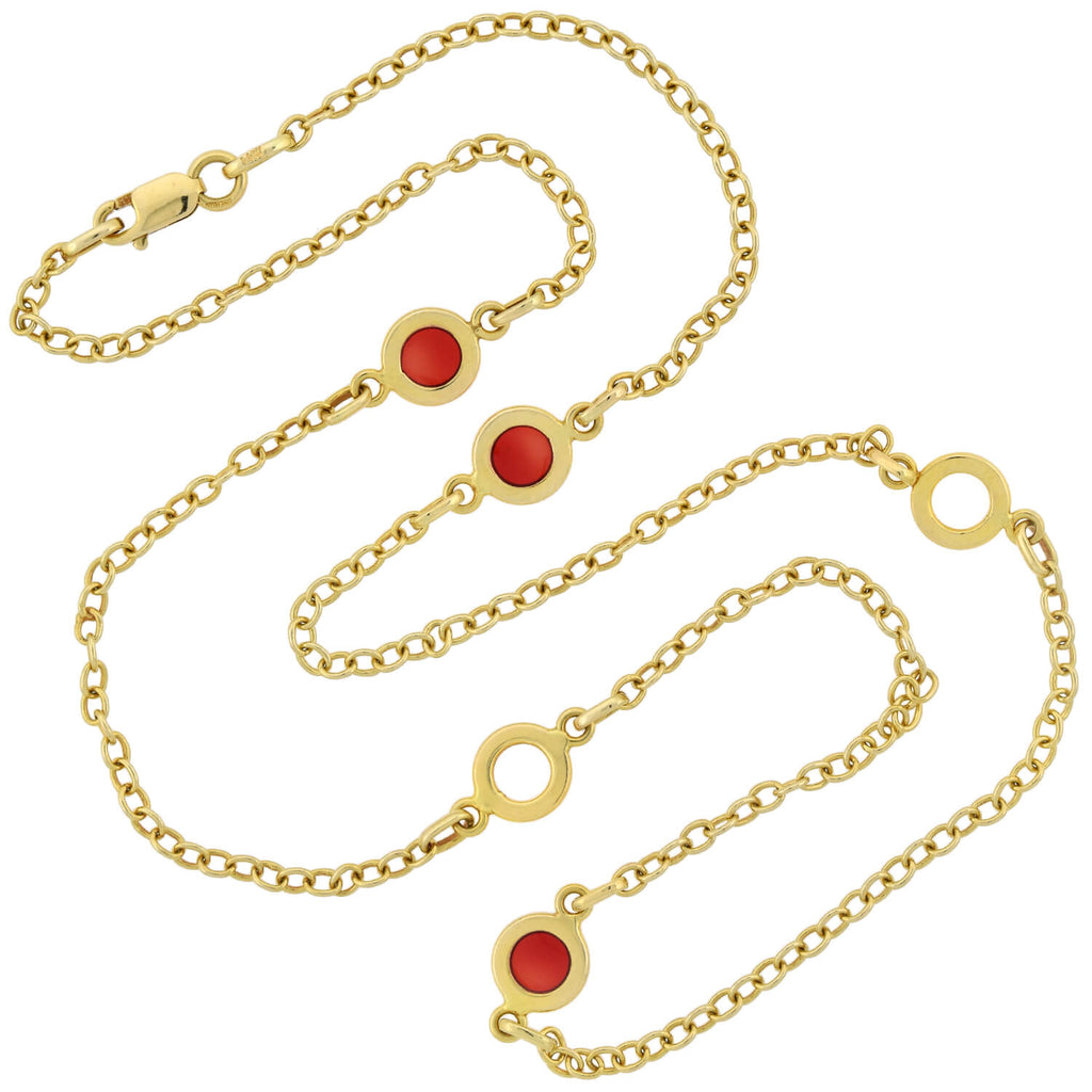 Estate 14kt Red Enamel Open Circle Link Chain Necklace 18""