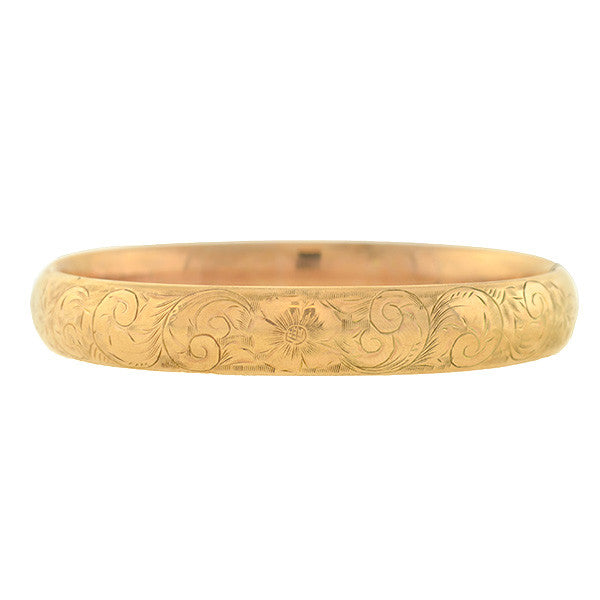 Victorian 10kt Etched Floral Bangle Bracelet