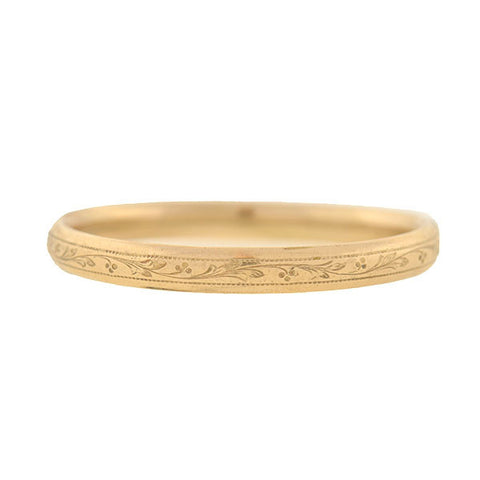Victorian 15kt Gold Etched Hinged Bangle Bracelet