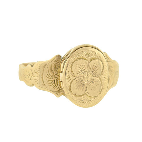 Victorian English 9kt Hidden Compartment Poison Ring