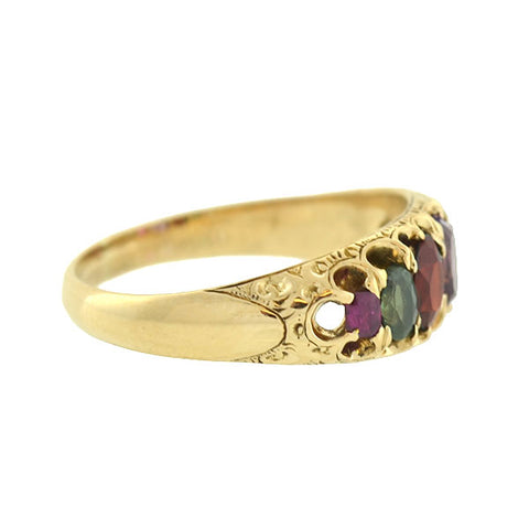 "Victorian 18kt Multi Gemstone ""REGARD"" Acrostic Ring"