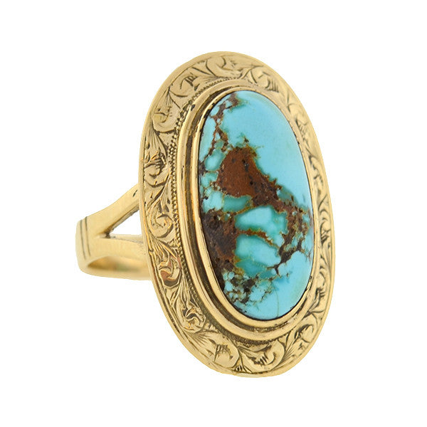 Victorian 14kt Turquoise Matrix Etched Ring