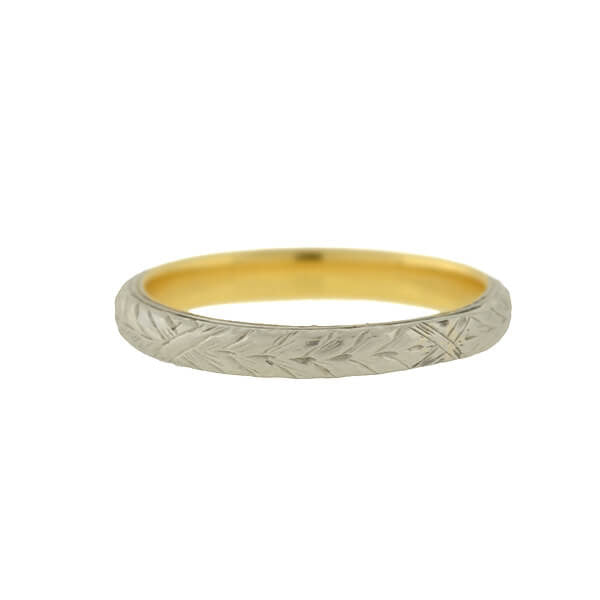 Edwardian 14kt Mixed Metals Engraved Band