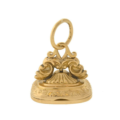 Edwardian English 9kt Hidden Locket Signet Fob