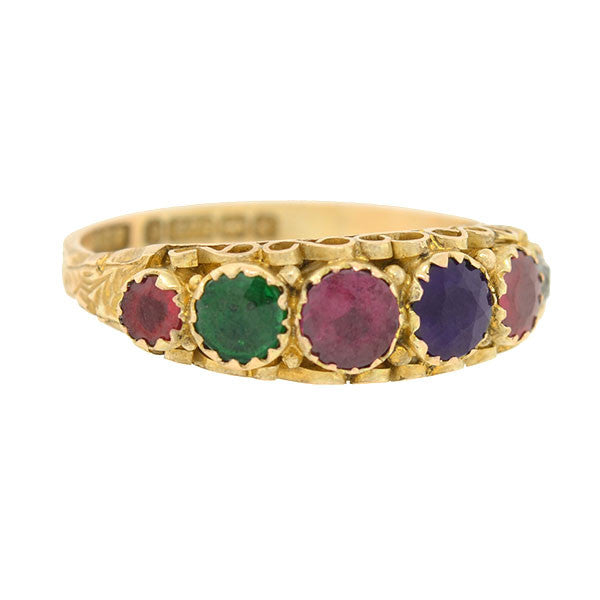 Victorian English 9kt & Multi Stone REGARD Ring