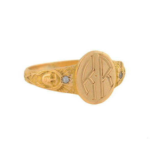 Late Victorian 14kt Diamond Native American Signet Ring