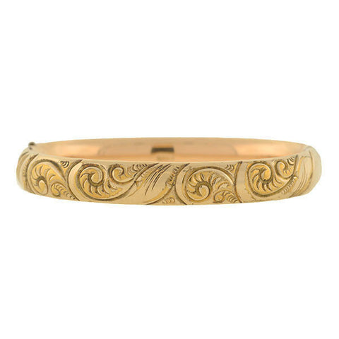 Victorian Gold-Filled Repousse Hinged Bangle Bracelet