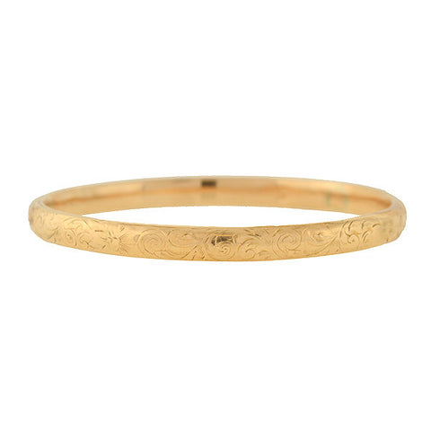 Victorian 14kt Etched Skinny Bangle Bracelet