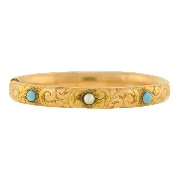 Victorian 14kt Etched Turquoise & Pearl Bangle Bracelet