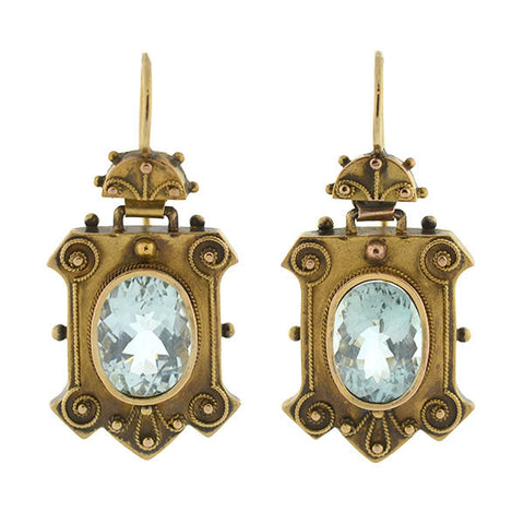 Victorian 15kt Etruscan & Genuine Aquamarine Earrings