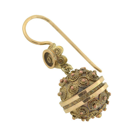 Victorian Gold-Filled Etruscan Ball Earrings