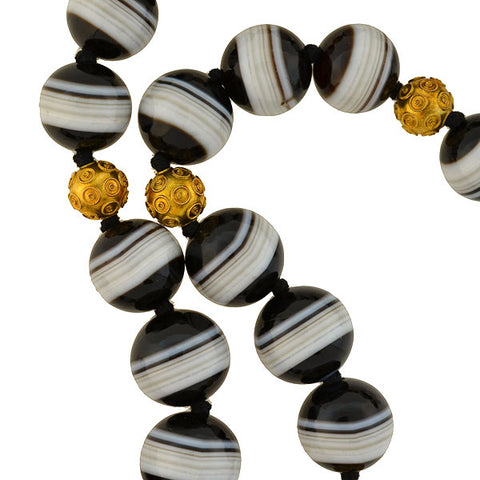 Victorian 13-16mm Banded Agate & Etruscan Bead Necklace 22""