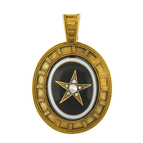 Victorian 14kt Banded Agate & Diamond Star Locket/Pendant