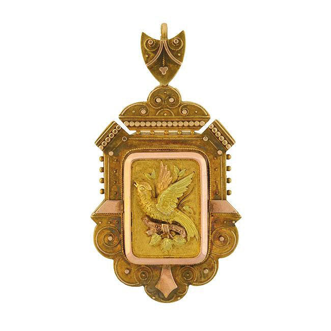Victorian 15kt Multi-Tone Etruscan Bird Pin/Pendant with Locket