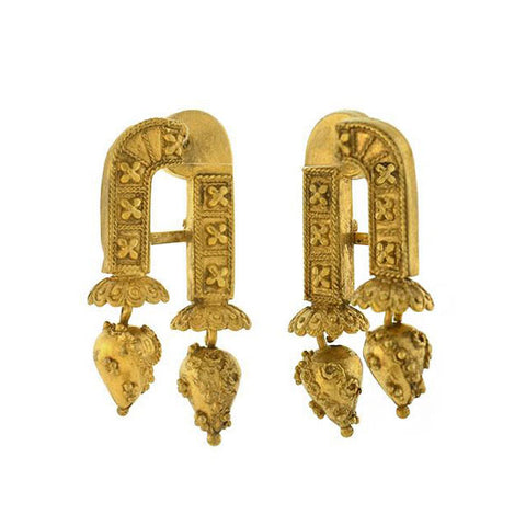 Victorian Revival Etruscan Gold-Filled Hinged Double-Sided Earrings