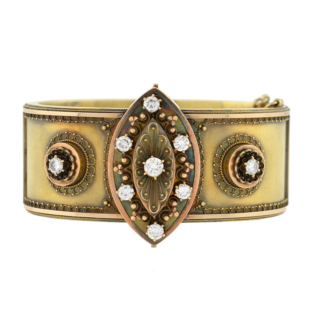 Victorian Etruscan 15kt Gold + Diamond Hinged Bangle Bracelet