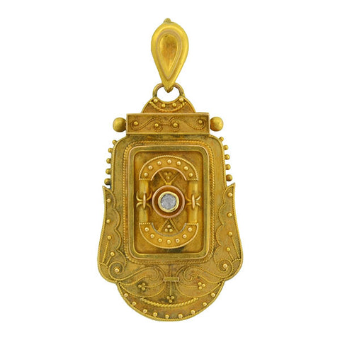 Victorian 15kt Etruscan Diamond Locket