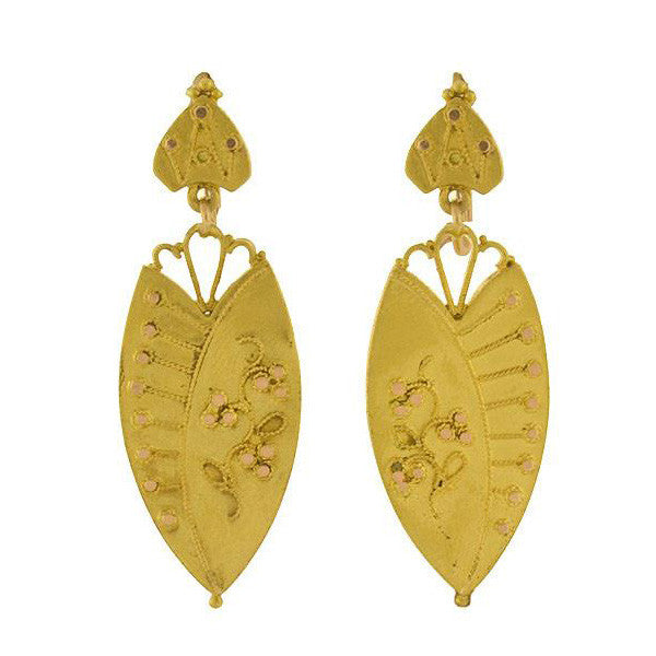 Victorian 14kt Etruscan Floral Motif Hanging Earrings