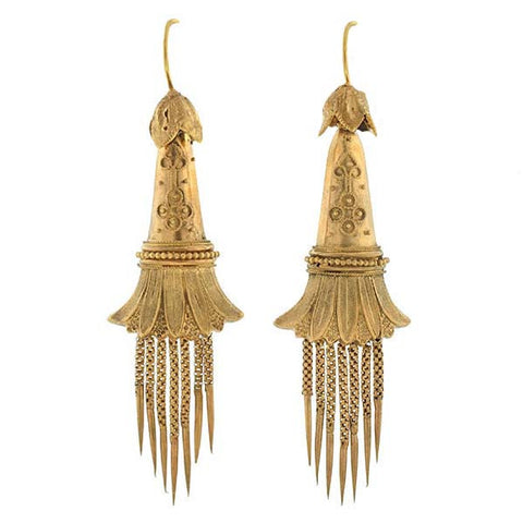 Victorian 15kt Etruscan Hanging Foxtail Earrings