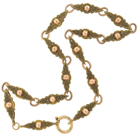 Victorian Gold-Filled Two Tone Etruscan Book Chain 21.5""