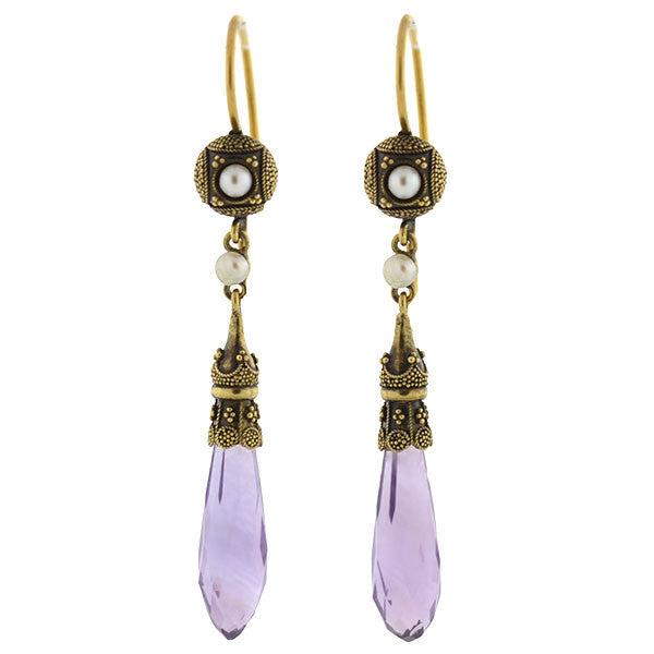 Victorian 14kt Amethyst Briolette & Pearl Etruscan Earrings