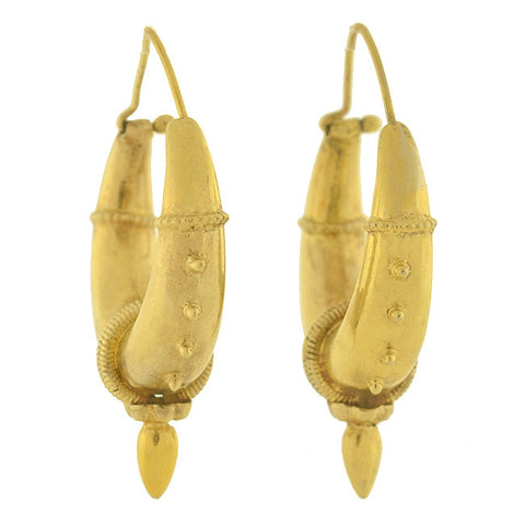 Late Victorian 10kt Gold Hand Wrought Hollow Hoop Earrings
