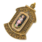 Victorian Gold Filled & Painted Porcelain Etruscan Style Locket