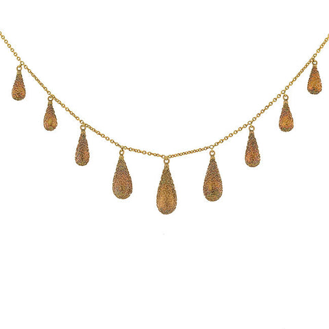 Victorian 15kt Gold Etruscan Tear Drop Festoon Necklace