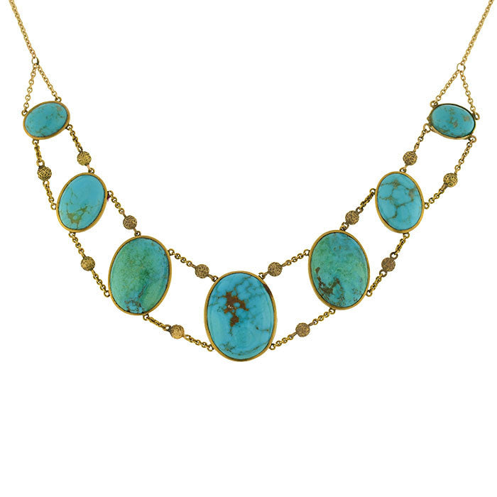 Victorian 14kt Turquoise & Etruscan Bead Necklace