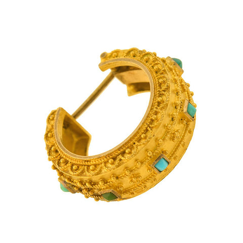 Victorian 15kt Turquoise Etruscan Hoop Earrings