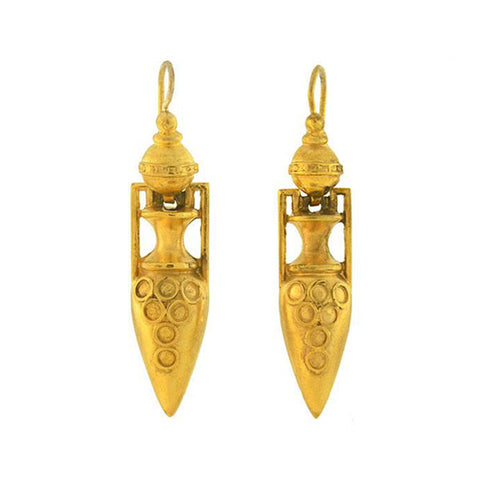 Victorian 18kt Gold-Filled Etruscan Urn Earrings