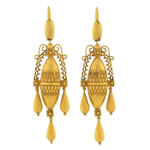 Victorian 15kt Etruscan Hanging Urn Motif Earrings
