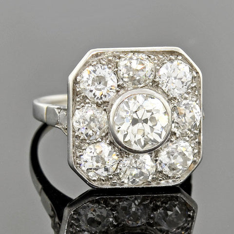 Edwardian Platinum Diamond Cluster Ring 3ctw