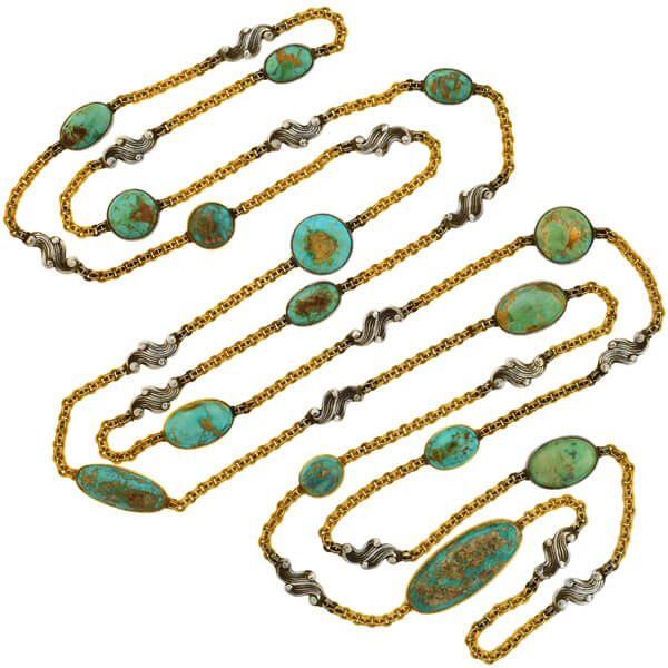 Art Nouveau Extra Long 15kt/Sterling Cabochon Turquoise Link Chain Necklace 88""