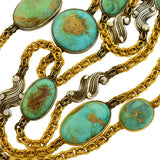 Art Nouveau Extra Long 15kt/Sterling Cabochon Turquoise Link Chain Necklace 88