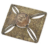 THEODOR FAHRNER Art Deco Sterling Topaz & Marcasite Pin