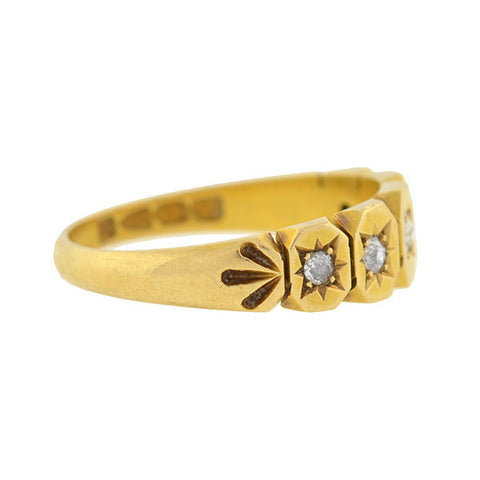 Victorian 18kt Mine Cut Diamond Etched Starburst Ring