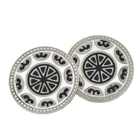FOSTER & BAILEY Art Deco Sterling & Enamel Cufflinks