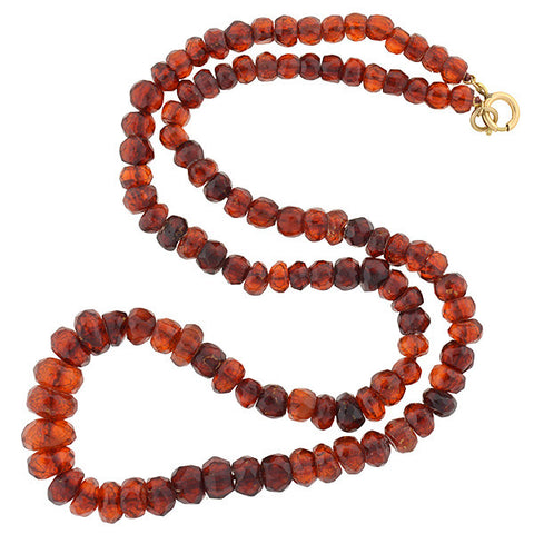 Edwardian Faceted Natural Amber Bead Necklace 24""