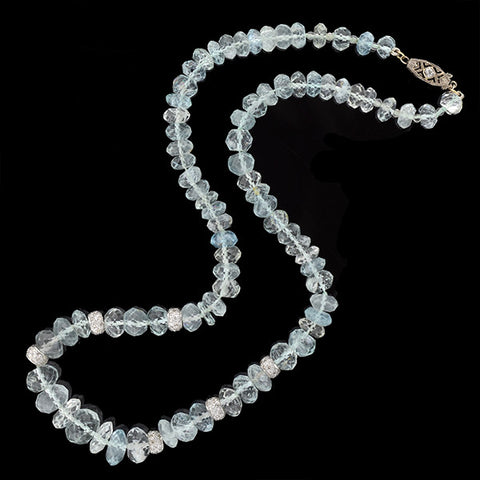 Estate 14kt Faceted Aquamarine & Diamond Beaded Necklace