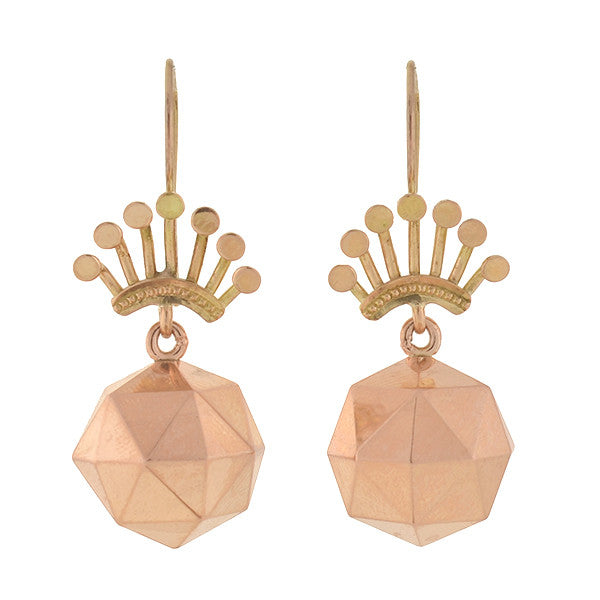 Victorian 14kt Rose Gold Faceted Ball & Crown Earrings