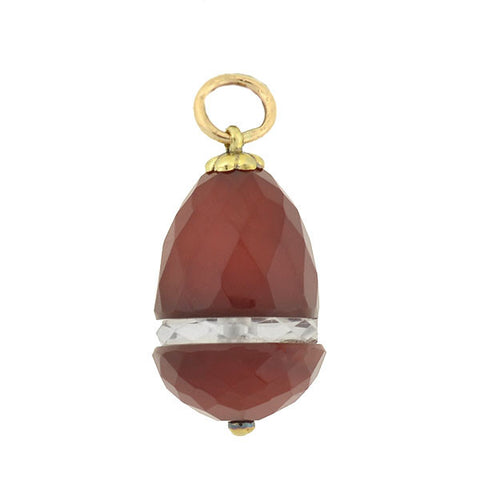 Art Deco 14kt Faceted Carnelian & Rock Quartz Pendant