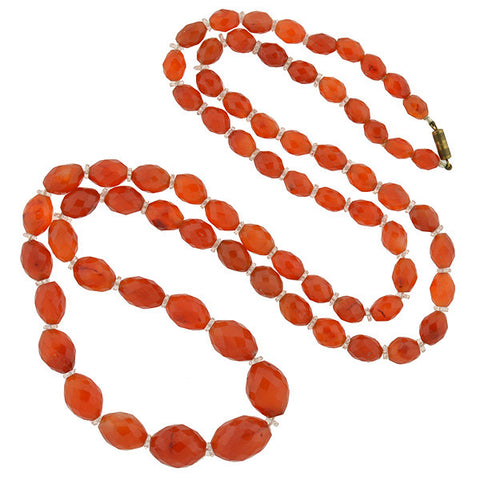 Art Deco Faceted Carnelian & Rock Quartz Crystal Necklace 46""