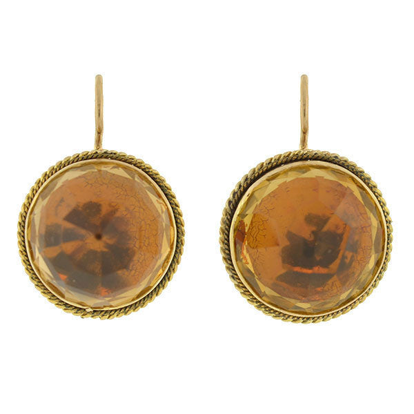 Victorian 10kt Faceted Citrine Earrings