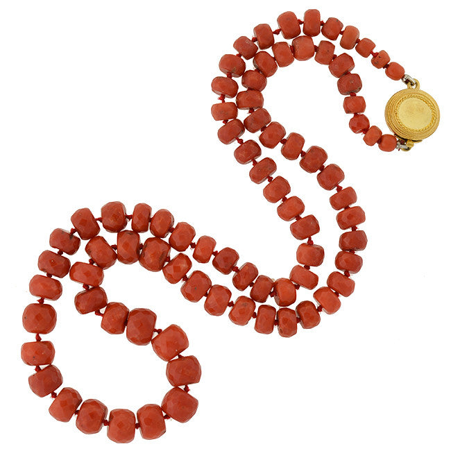 Victorian 14K Oxblood Coral Faceted Bead Necklace